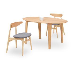 ダイニングテーブルセット 3点 マルティNA ナチュラルオーク (150楕円テーブル+チェアー2脚) 座面ファブリック|kagunoroomkoubou