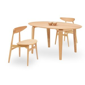 ダイニングテーブルセット 3点 マルティNA ナチュラルオーク (150楕円テーブル+チェアー2脚) 座面板座|kagunoroomkoubou
