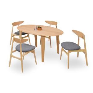 ダイニングテーブルセット 5点 マルティNA ナチュラルオーク (150楕円ダイニングテーブル+チェアー4脚) 座面ファブリック|kagunoroomkoubou