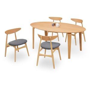 ダイニングテーブルセット 5点 マルティNA ナチュラルオーク (180楕円ダイニングテーブル+チェアー4脚) 座面ファブリック|kagunoroomkoubou