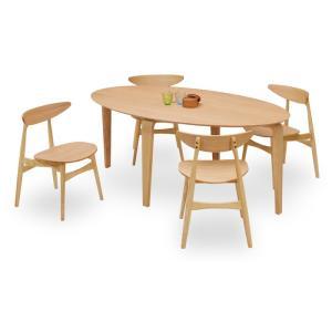 ダイニングテーブルセット 5点 マルティNA ナチュラルオーク (180楕円ダイニングテーブル+チェアー4脚) 座面板座|kagunoroomkoubou