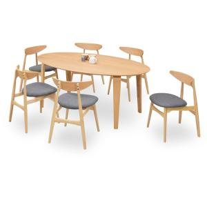 ダイニングテーブルセット 7点 マルティNA ナチュラルオーク (180楕円ダイニングテーブル+チェアー6脚) 座面ファブリック|kagunoroomkoubou