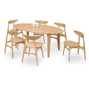 ダイニングテーブルセット 7点 マルティNA ナチュラルオーク (180楕円ダイニングテーブル+チェアー6脚) 座面板座|kagunoroomkoubou