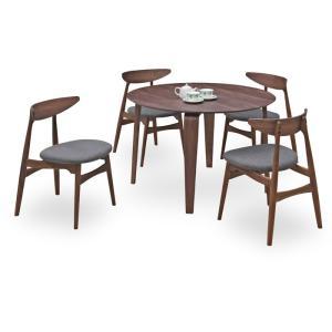 ダイニングテーブルセット 5点 マルティWN ウォールナット (110丸ダイニングテーブル+チェアー4脚) 座面ファブリック|kagunoroomkoubou