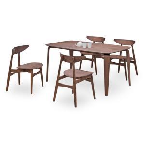 ダイニングテーブルセット 5点 マルティWN ウォールナット (150ダイニングテーブル+チェアー4脚) 座面板座|kagunoroomkoubou