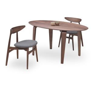 ダイニングテーブルセット 3点 マルティWN ウォールナット (150楕円テーブル+チェアー2脚) 座面ファブリック|kagunoroomkoubou