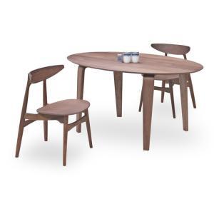 ダイニングテーブルセット 3点 マルティWN ウォールナット (150楕円テーブル+チェアー2脚) 座面板座|kagunoroomkoubou
