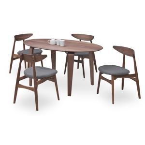 ダイニングテーブルセット 5点 マルティWN ウォールナット (150楕円ダイニングテーブル+チェアー4脚) 座面ファブリック|kagunoroomkoubou