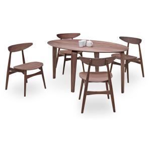ダイニングテーブルセット 5点 マルティWN ウォールナット (150楕円ダイニングテーブル+チェアー4脚) 座面板座|kagunoroomkoubou