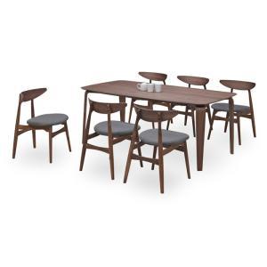 ダイニングテーブルセット 7点 マルティWN ウォールナット (180ダイニングテーブル+チェアー6脚) 座面ファブリック|kagunoroomkoubou
