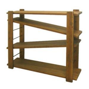 ヴィンテージ調家具 DUNK ダンク 115ローシェルフ ラック 収納 木製 ダメージ加工|kagunoroomkoubou|02