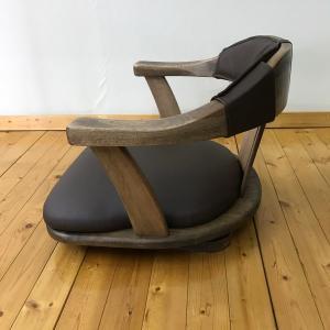 無垢材(オーク/イエローポプラ) 座椅子 イス 1脚 123DX/回転/レザー 和風 和モダン|kagunoroomkoubou|06