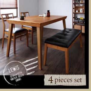 天然木北欧ヴィンテージスタイルダイニング LEWIS ルイス/4点セット(テーブル+チェア×2+ベンチ)|kagunoroomkoubou