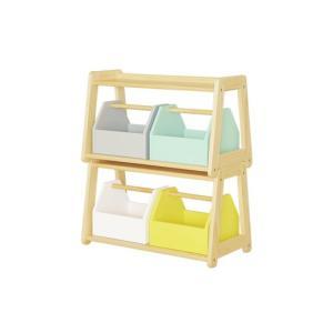 カラフルなボックスが4つ付いた木製のおもちゃ箱です。 2段に重ねられた棚本体は、横並びにして使うこと...