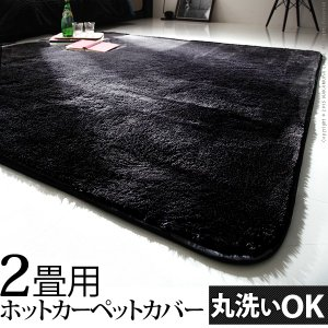 漆黒のホットカーペットカバー ジェッタ 2畳用 (186x186cm) 洗える ラグ kaguone