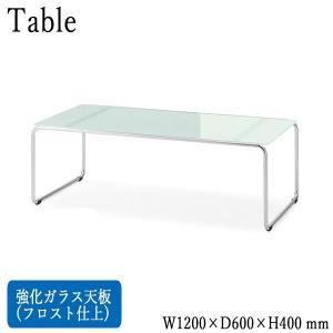 センターテーブル ローテーブル 角型天板 強化ガラス フロスト仕上 角スチール脚 アジャスター付 業務用 W120cm D60cm H40cm シルバー CS-0149 kaguro