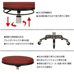 スツール 作業用椅子 ワーキングチェア 丸椅子 メディカルチェア イス リング式レバー ガス昇降 回転式 抗菌 難燃 オフィス 会社 病院 施設 工場 MT-1297|kaguro|05