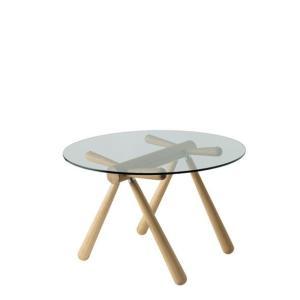 【飛騨産業】 HIDA 丸ガラステーブル (W110 D110) Giulie 強化ガラス ナラ NY色・BK色 EM309G|kaguroom