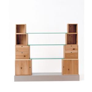 【飛騨産業】 HIDA キャビネット Scaloni 圧縮杉 ブナ  強化ガラス  NY2色 EM550|kaguroom
