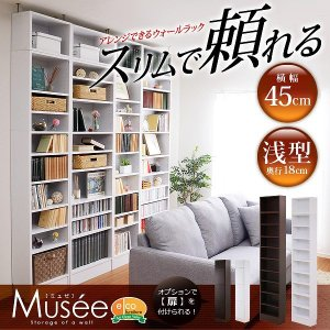 ウォールラック-幅45・浅型タイプ- Musee-ミュゼ- (天井つっぱり本棚・壁面収納)の写真