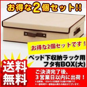 フタ有りBOX(大) (2個セット BSB-01BFA)幅38cm 奥行き46cm 高さ13cm 送料無料 シンプル ベッド下 収納ボックス(ベッド下収納ボックス ベッド下 収納ラック)|kaguto