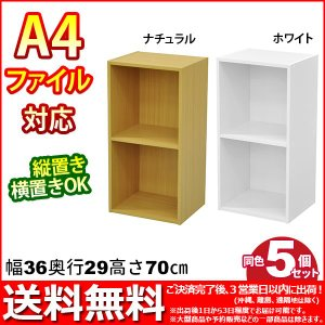 『A4対応カラーボックス2段』(5個セット)幅36cm 奥行き29.5cm 高さ70.7cm 送料無料 A4ファイル収納可能 カラーBOX すき間収納 すきま収納 隙間収納 組立家具