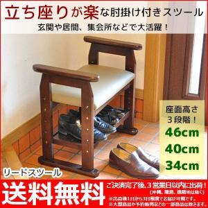 『リードスツール』(RYD-03)幅58cm 奥行き35cm 高さ54cm 送料無料 玄関椅子 仏壇いす 肘掛け付きスツール手すり付き 玄関ベンチ 玄関 椅子 ベンチ 介護 靴収納の写真