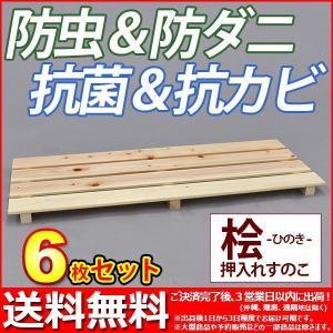 『国産桧 押入れ すのこ』(6枚セット) 幅80cm 奥行き33cm 高さ3.6cm 送料無料 日本製ひのき使用 シンプル スノコ 桧すのこ ひのきスノコ 檜すのこ ヒノキすのこ|kaguto