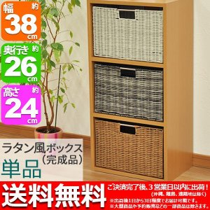 カラーボックス インナーボックス 単品 収納ボックス ラタン風 幅38cm 奥行き26cm 高さ24cm おしゃれ ラタン風ボックス 藤かご風小物入れ シンプル(YTRB)|kaguto