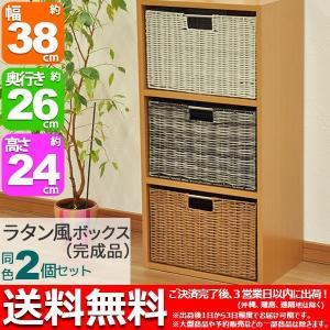 カラーボックス インナーボックス 2個セット 収納ボックス ラタン風 幅38cm 奥行き26cm 高さ24cm おしゃれ ラタン風ボックス 藤かご風小物入れ シンプル(YTRB)|kaguto