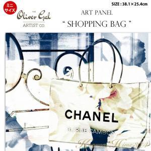 代引き不可 ミニサイズ アートパネル「SHOPPING BAG」サイズ38.1×25.4cm バッグの絵画 ポップアート  |kaguya-hime374