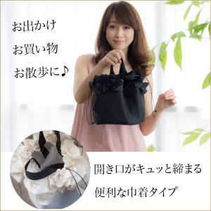 巾着ミニバッグ「フリル」 巾着バッグ サブバッグ お買い物、お出かけに 小さめトートバッグ 手提げカバン 手提げ鞄 kaguya-hime374 02