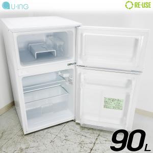 美品 U-ing 冷蔵庫 2ドア 90L 直冷式 2016年製 UR-D90J-W 屋内搬入サービス付 右開き 静岡在庫 CA0029|kaguya-interior