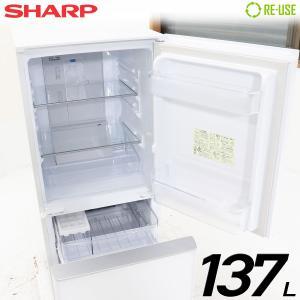 新品同様 SHARP 冷蔵庫 2ドア 137L ファン式 2017年製 SJ-GD14C-W 屋内搬入サービス付 ガラスドア 付替左右開き 京都在庫 CF2849|kaguya-interior