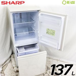 美品 SHARP 冷蔵庫 2ドア 137L ファン式 2017年製 SJ-D14C-W 付替左右開き 京都在庫 CJ4691|kaguya-interior