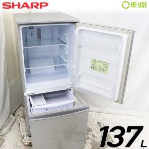 極美品 SHARP 冷蔵庫 2ドア 137L ファン式 2015年製 SJ-D14B-S 付替左右開き 京都在庫 CJ4694|kaguya-interior