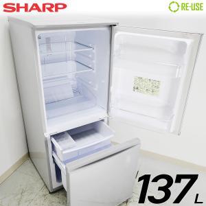 SHARP 冷蔵庫 2ドア 137L ファン式 2017年製 SJ-D14C-S 屋内搬入サービス付 付替左右開き 静岡在庫 HA0006|kaguya-interior