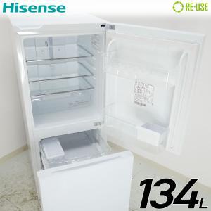 新品同様 Hisense 冷蔵庫 2ドア 134L ファン式 2019年製 HR-G13A-W 屋内搬入サービス付 ガラスドア 右開き 静岡在庫 HE0342|kaguya-interior