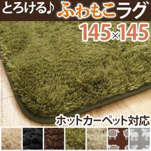 ラグ 洗える ふわもこラグ モリス 145x145cm 正方形|kaguya-kaguya