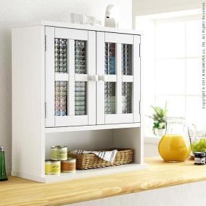 クロスガラス 上置き ラック COPO コポ 2枚扉 キッチン 収納 ラック 食器棚 kaguya-kaguya