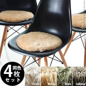 霜降りミックスカラーマイクロファイバーシャギーチェアパッド metsa メッツァ 4枚組 35cm 丸型 チェアパッド マイクロファイバー 円形|kaguya-kaguya