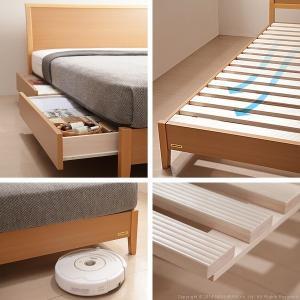 フランスベッド 脚付き すのこベッド マーロウ セミダブル 引き出し収納付き デュラテクノスプリングマットレスセット|kaguya-kaguya|04
