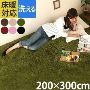 ラグマット おしゃれ 洗える シャギーラグ カーペット ラグ マット 床暖房 ホットカーペット対応 6畳 六畳用 長方形 200×300cm|kaguya