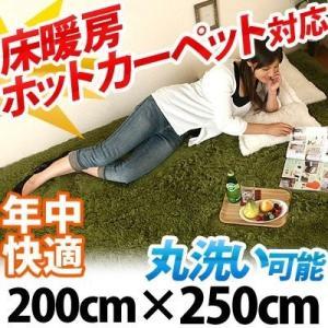 ラグマット おしゃれ 洗える シャギーラグ カーペット ラグ マット 床暖房 ホットカーペット対応 6畳 六畳用 長方形 200×250cm|kaguya