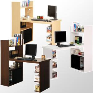 パソコンデスク PCデスク ハイタイプ 収納棚 収納スペース 本棚 CDラック DVDラック おしゃれ デスク 勉強机 学習机 作業机 木製 シンプル|kaguya