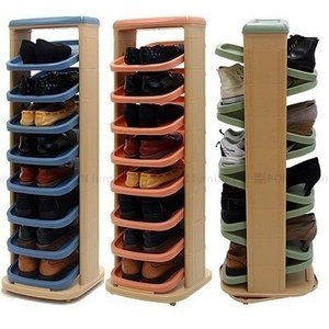 シューズラック 省スペース スリッパラック スリム 靴箱 下駄箱 シューズラック おしゃれ 回転式 タワー型 玄関 収納 インテリア 8段タイプの写真