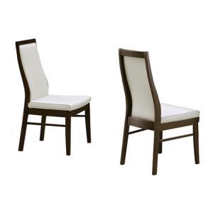 2脚セット ダイニングチェア 食卓椅子 ダイニングチェアー 木製 レザー 完成品 肘なし ホワイト 白 ブラウン 北欧 モダン おしゃれ シンプル 大川家具 kaguyatai