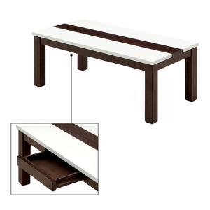 幅100cm センターテーブル ローテーブル リビングテーブル 引出し付き ホワイト 白 ブラウン 木製 長方形 引き出し エナメル塗装 光沢感 北欧 モダン kaguyatai