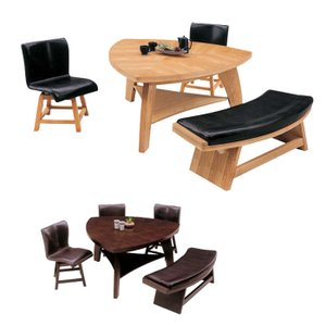 ダイニングテーブルセット 無垢 ベンチ 三角形 無垢 ベンチ 三角形 4人掛け 座面回転式 レザー 木製 激安セール アウトレット価格 家具 通販|kaguyatai
