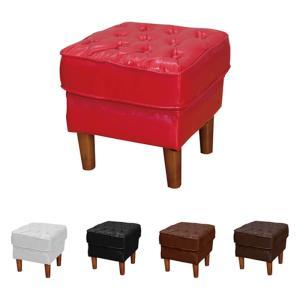 1人掛け スツール オットマン 椅子 チェア 一人掛け 1人用 1人掛けスツール 完成品 バイキャスト レザー おしゃれ レトロ アンティーク アイボリー ブラック|kaguyatai